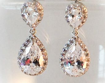 Crystal bridal earrings white gold filled.