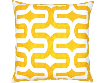 Cushion cover graphic pattern batik printing EMBRACE 50 x 50 cm yellow white