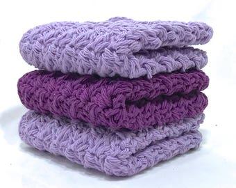 Cotton Crochet Washcloth Set - Shades of Purple