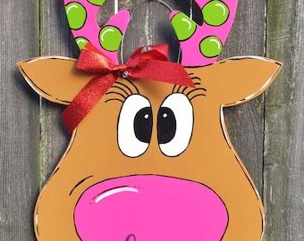 Fancy Reindeer Door Hanger, Girl Reindeer, Pink Christmas Door Hanger