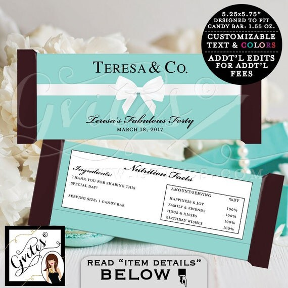 Candy Bar Wrapper - Breakfast at birthday and co. Forty fabulous, party PRINTABLE chocolate wrapper, customizable, birthday party labels.