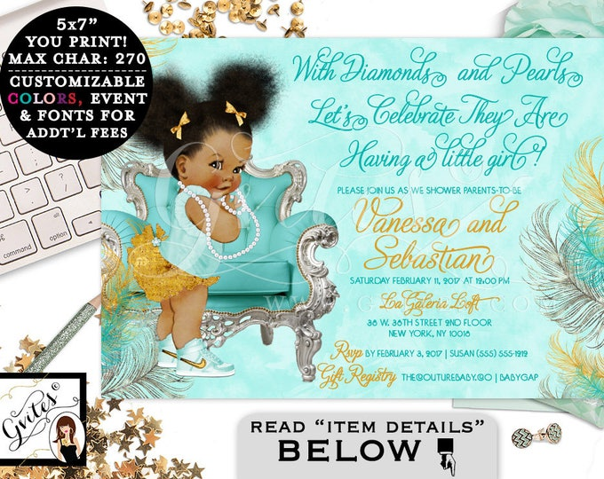 Blue themed African American baby girl baby shower invitations, turquoise blue gold and silver, printable ethnic baby, bows diamonds pearls.