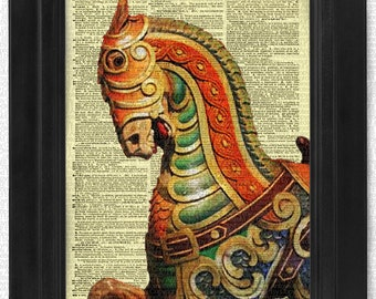 Carousel 5 Horse Coney Island Nursery on Antique Dictionary Page, art print, Wall Decor, Wall Art Mixed Media Collage