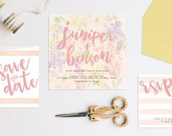Pastel Modern Floral Wedding Invitation