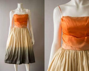 vintage 1950s dress / 50s silk dip dyed party dress / xs / City Sunrise Dress