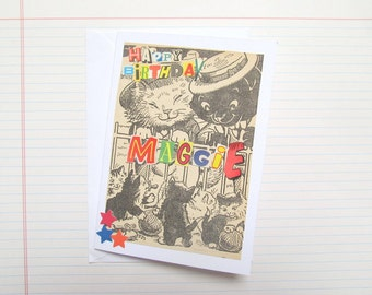 Funny cats birthday card: add any name to personalise it. Featuring original illustrated 1960s book page. For sister, best friend, daughter