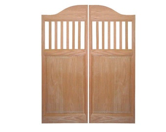 Custom oak full length swinging interior doors cafe doors for Porte saloon