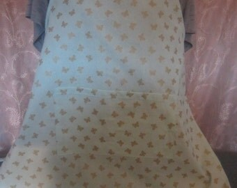 Full apron/ butterfly motif/light aqua