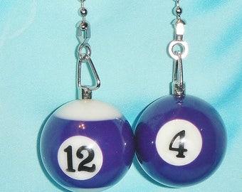 Set of Two ~ Purple Pool Billard Balls 4 & 12 Rec Room ~ Ceiling Fan Pulls