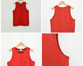 Speedo Perforated Sports Tank Red Muscle Shirt Speedo Size XL Fitted 90's Era Tiny Perforated Cotton Tank