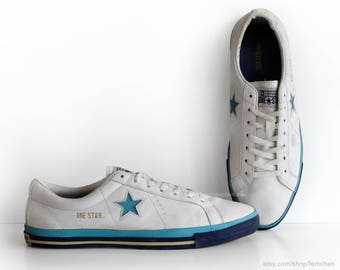 White leather Converse One Star sneakers, vintage trainers, low tops, casual shoes, white and blue, eu 45 (UK 10, US Mens 11, US Wo's 12.5)