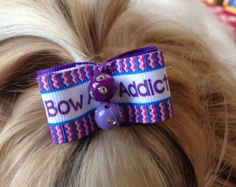 set of 2 Shih Tzu dog hair bow 7/8 inch