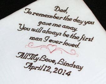 Custom Embroidered Handkerchief for Father of the Bride - Personalized Handkerchief - Embroidered Wedding Handkerchief - FREE Gift Box