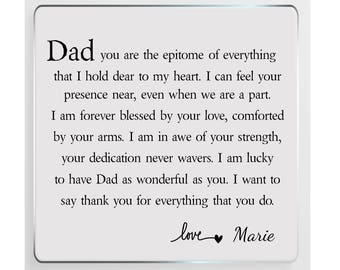Dad Poem Personalised Glass Plaque