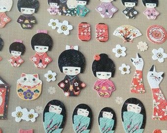 Stickers in the shape of Doll Japanese Kimono Scrapbooking Gift Tags
