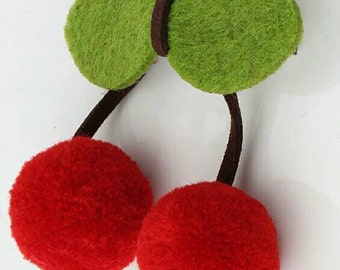 Felt hair clip. Cherry hair clip. Winter hair bow. Felt accessories.  Cherries
