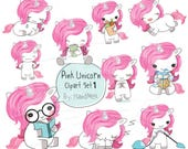 pink unicorn Set 1 ,Kawaii Unicorn,cute unicorn clipart instant download PNG file - 300 dpi