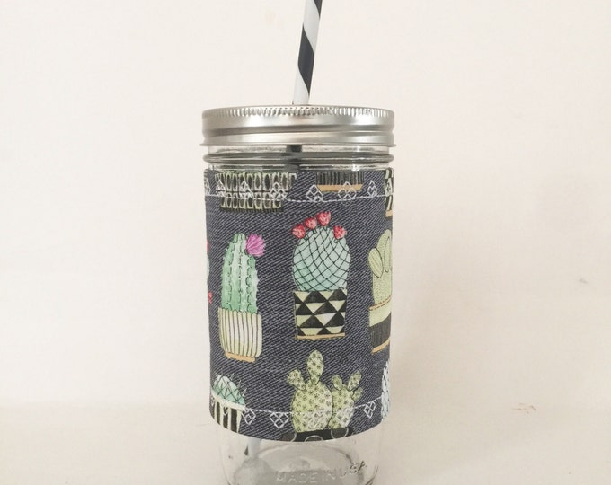 Succulents and Cactus on Parade Insulated Mason Jar Tumbler and Cozy w BPA Free Straw - Travel Mug Great Gift