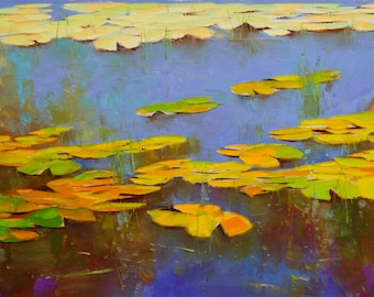 Waterlilies Pond, Original oil painting, large size, handmade art by palette knife, One of a kind
