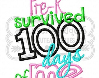 100 Days of School Survived *any grade* Applique Shirt or Onesie Boy or Girl