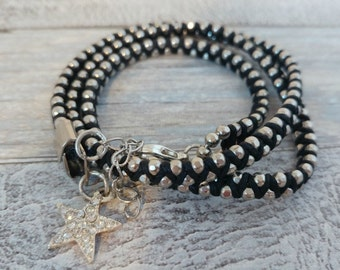 3 times Wrap Bracelet, Silver Chain Weaved together with Black Cotton Waxed Cord