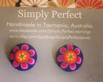 Beautiful flower fabric clip ons or studs/Mothers Day