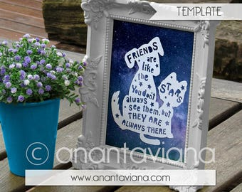 Papercut Template Commercial   Friends are like the stars   Commercial Use   Design by Anantaviana