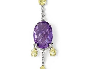 Amethyst Pendant Necklace Chandelier with Lime Quartz & Diamonds in 18kt Gold 12.76ctw