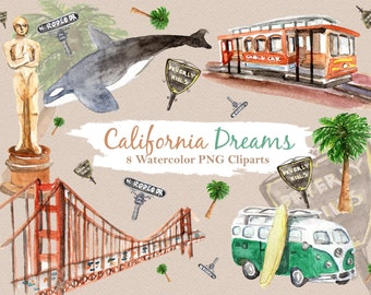 California Clipart Watercolor Digital Download Travel USA State San Francisco Rodeo Drive Beverly Hills Invite Paint Original