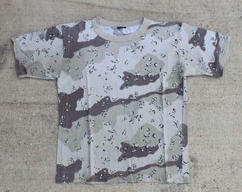 Vintage Thin Blank Desert Camo Camouflage Tee T Shirt Size Medium