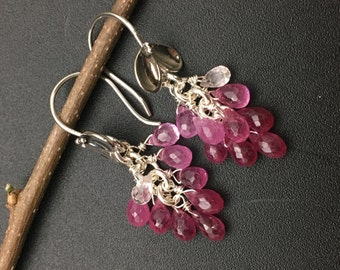 Pink Sapphire Briolette Earrings, Pink Sapphire Cluster Earrings, Genuine Sapphire Earrings, Earrings under 200