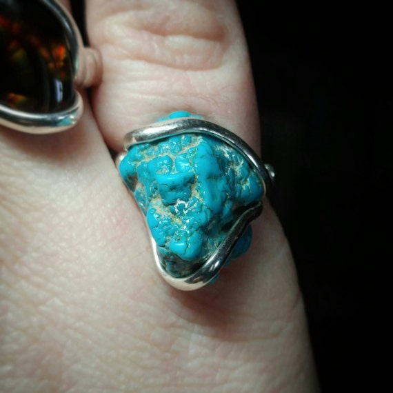 Raw Turquoise Ring | Turquoise Nugget Ring | Sterling Silver Ring Sz. 7 | Right Hand Ring | Statement Turquoise Jewelry | Rough Stone Ring