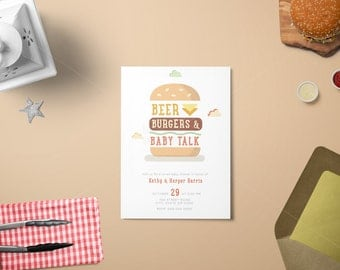 Burgers, Beer and Baby Talk Baby Shower/ Coed Baby Shower Invitation/ A Baby is Brewing/ Co-Ed Baby Q Baby Shower Invitation/ Backyard BBQ