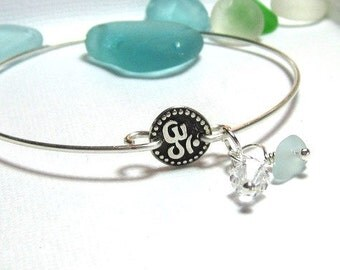 OM Sea Glass  Bangle  Bracelet