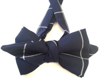 Navy bow tie, Bow Tie, Blue bow tie, Bow Ties, Navy and White Bow Ties, Navy Tie, Navy necktie, Navy Man Tie, Navy Gingham tie