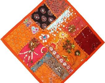 "Indian embroider sari beaded Gujarati design patch work cushion pillow cover throw wall hanging 16"""