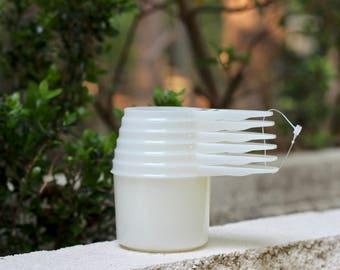 Set of Six Vintage Opaque White Tupperware Measuring Cups / White Tupperware Utensils / Tupperware White Dry Measuring Cups / White Kitchen