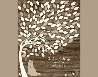 Rustic Wedding Tree Guestbook, Signature Leaf Tree, Alternative Guest Book, Guestbook Alternative, 190 Guest's Signature Tree, Silhouette