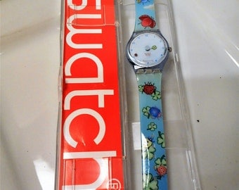 Swatch Lucky Ladybug and Clover Watch...New Battery...Whimsical Ladybug and Clover Swatch! NIB-RARE! GS111, Swatch Lucky Watch NIB