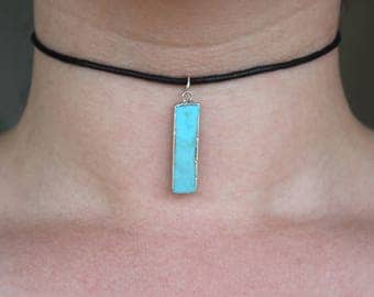 Black Choker with Turquose Stone