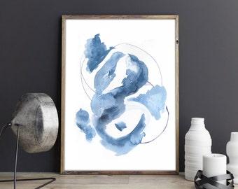 Gallery Wall Art. Art Wall Gallery Prints. Blue Gallery Wall Art. Abstract Blue Gallery Wall.