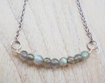 Minimalist Blue Green Labradorite Necklace
