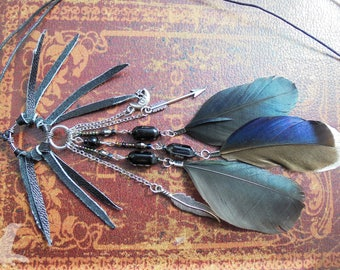 Dark Witch Dreamcatcher Feather Charm Necklace