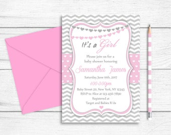 Baby Shower Printable Party Invitation, Pink Grey Chevron Baby Shower Invitation, Pink Heart Baby Shower Invitation, It's a Girl Baby Shower