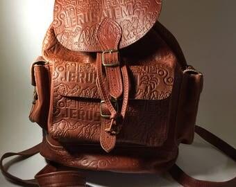 Vintage Brown Goatskin Leather Backpack Shoulder Bag Women Jerusalem