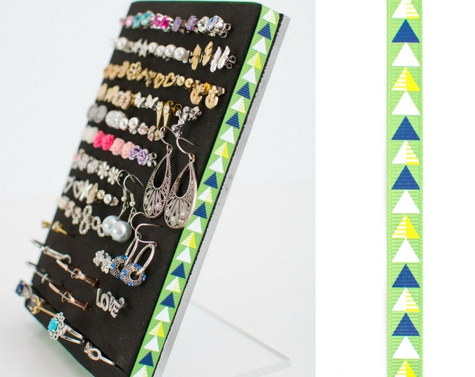 Stud or Post Earring Organizer - Green Arrow Ribbon - Jewelry Organizer