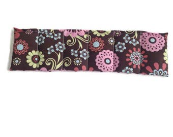 Microwaveable Flax Seed Heating Pad with Pink and Brown Flowers with Pink and Brown Polka Dots