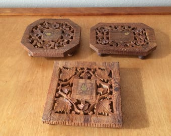 Carved Wood Trivet from India - Set of Three