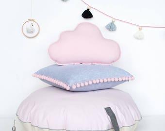 """Round stuffed  pouf """"Light Pink disk"""" bean bag ottoman pouf floor pillow kids room nursery cushion"""