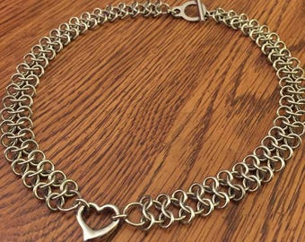 Choker - Heart Charm Chainmaille Stainless Steel Necklace